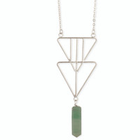 Double Triangle Crystal Necklace - Silver/Green