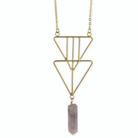 Double Triangle Crystal Necklace - Gold/Purple