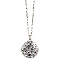 Cutout Swirl Pendant Necklace - Silver