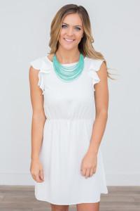 Everly Ruffle Sleeve Dress - White - FINAL SALE