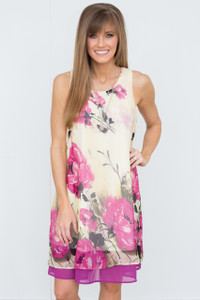 Sleeveless Floral Print Dress - Soft Yellow/Magenta - FINAL SALE
