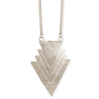 Overlapping Triangles Necklace - Silver