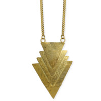Overlapping Triangles Necklace - Gold