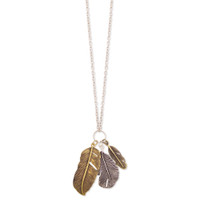 Feather Pendant Necklace - Silver/Gold