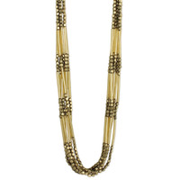 Multi Strand Beaded Necklace - Gold