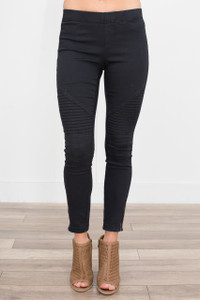 Zipper Detail Moto Stitch Leggings - Black