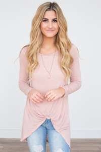 Knot Front Long Sleeve Tunic - Heather Blush - FINAL SALE
