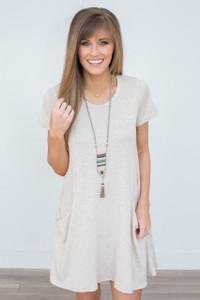 Pocket Front Knit Dress - Oatmeal