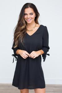 Open Back Tie Sleeve Dress - Black