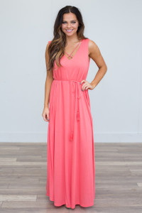 Tassel Tie Waist Maxi Dress - Coral - FINAL SALE