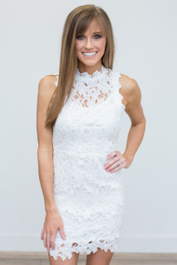 Open Back Crochet Lace Dress - White - FINAL SALE