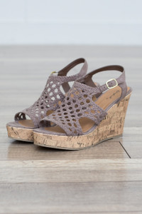 Crochet Wedge Sandal - Taupe