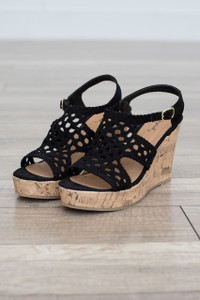Crochet Wedge Sandal - Black