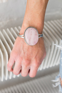 Rose Quartz Cuff Bracelet - Silver - FINAL SALE