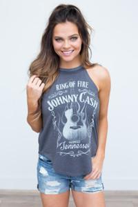 Recycled Karma: Johnny Cash Tank - Charcoal