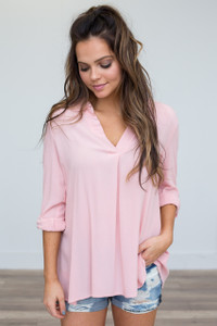 Roll Tab Sleeve V-Neck Tunic - Light Pink