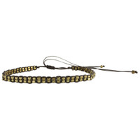 Beaded Cord Choker - Gold/Brown - FINAL SALE