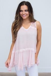 Sleeveless Lace Blouse - Light Pink