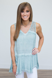 Sleeveless Lace Blouse - Light Teal - FINAL SALE