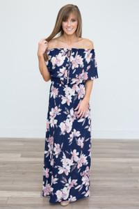 Spring Fever Floral Maxi Dress - Navy - FINAL SALE