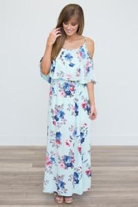 Drop Shoulder Floral Print Maxi Dress - Mint - FINAL SALE