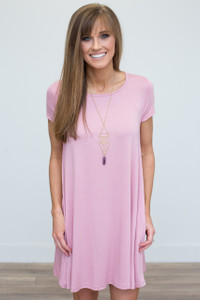 Keyhole Back T-Shirt Dress - Dusty Pink - FINAL SALE