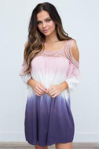 Cold Shoulder Dip Dye Dress - Pink/Purple