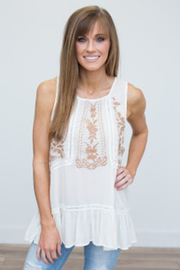 Floral Embroidered Sleeveless Blouse - Cream - FINAL SALE
