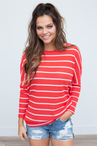 Striped Dolman Sleeve Waffle Knit - Red