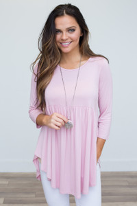 Solid Babydoll Tunic - Pink - FINAL SALE