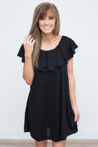 Ruffle Top Knit Dress - Black - FINAL SALE