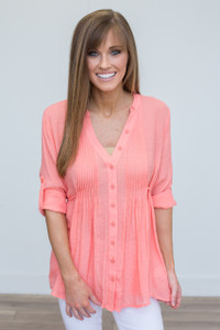 Pintuck Roll Tab Sleeve Blouse - Peach - FINAL SALE