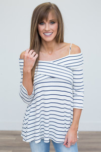 Cross Your Heart Off The Shoulder Tunic - Off White/Navy