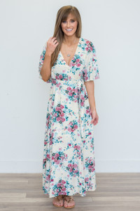 Wrap Front Floral Maxi Dress - Cream - FINAL SALE