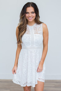 Sleeveless Lace Dress - Off White - FINAL SALE