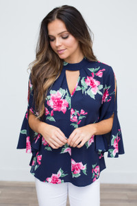 Floral Print Bell Sleeve Blouse - Navy/Pink