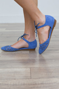 Wild Flower Lace Front Flats - Blue