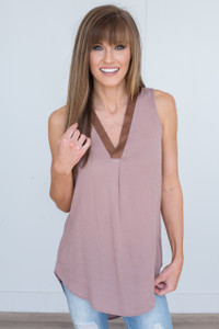 Suede Accent V-Neck Sleeveless Tunic - Brown