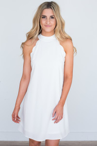 Tie Back Scalloped Dress - Off White