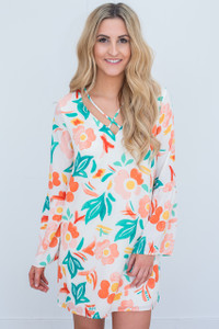 Everly Watercolor Floral Dress - Ivory/Peach/Green - FINAL SALE