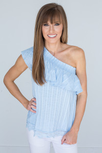 One Shoulder Lace Trim Blouse - Baby Blue