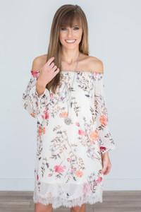 Floral Print Off The Shoulder Dress - Cream