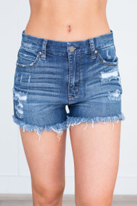 Mid Rise Frayed Denim Shorts - Medium Wash