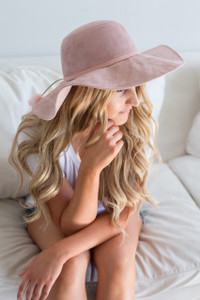 Pom Pom Detail Boho Floppy Hat - Blush - FINAL SALE