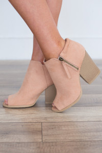 Side Zipper Peep Toe Bootie - Blush
