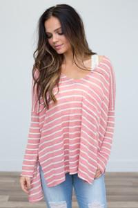 Striped Pocket Top- Pink