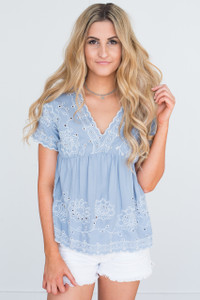 V-Neck Embroidered Blouse - Dusty Blue