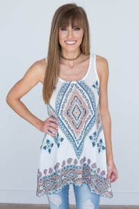 Printed Sleeveless Knit Tunic - Off White - FINAL SALE