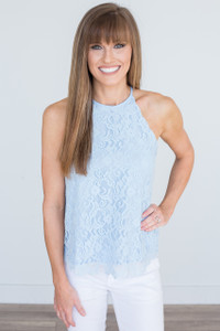 Solid Lace Tank - Baby Blue