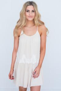 Lace Detail Tassel Tie Dress - Cream